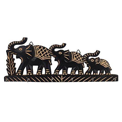 Familia de elefantes de madera titular de la clave decorativo Showpiece clave...
