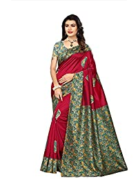 Indian Fashionista Women's Kalamkari Mysore Silk Saree With Blouse Piece (Printed Saree) (NMk-81_Free Size_Maroon)