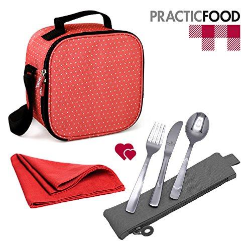 TATAY Kit Urban Food Dots Rosso con Posate e Tovagliolo Dimensioni Buffet - Porta Alimenti da Zaino con Ermetici Incluso, Misure 10 x 22.5 x 22 cm