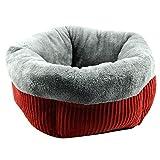 Amphia - Fünfeckiges rundes Nesthaustier groß,Mode Hundebett Hundehütte Kleine Katze Pet Puppy Runden Bett Haus Weiche Warme Pad Nest(Rot,55 x 25 cm (21,65 x 9,84 Zoll))