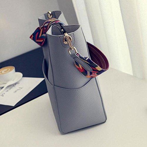 Frauen Weiche Leder Geldbörse Quaste Mini Eimer Tasche Kreuz Körper Handtasche Mit Verstellbaren Schultergurt Gray