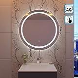 SIRHONA 80x80cm Miroir de maquillage monté sur mur avec miroir éclairé rond et...
