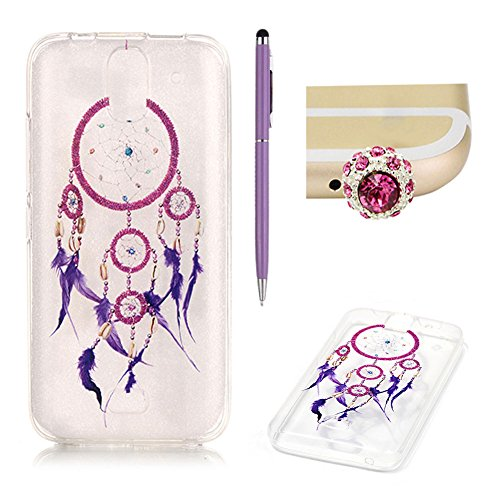 Huawei Y360 Case Clear Silicone,SKYXD Huawei Y360 Case Transparent With Pattern Purple Feather Dream Catcher Design Soft Gel Rubber Skin Premium Flexible Slim Thin Back Cover Crystal Clear Protective Case For Huawei Y360 +1x Cute Crown Dust Plug +1x Stylus Touch Pen Test