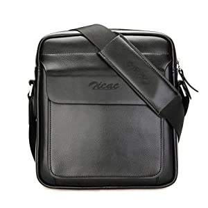 Zicac Mens Leather Shoulder Bag Handbags Briefcase for the Office Messenger Bag Large Enough to Hold iPad Air / iPad Mini