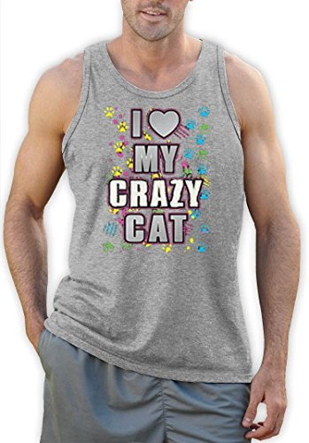 I Love My Crazy Cat funny Motiv Tank Top Grau