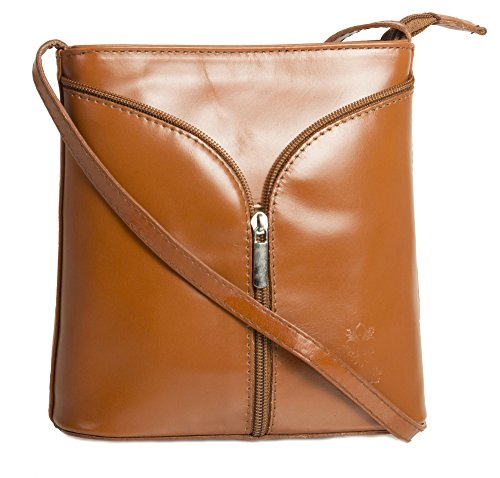 Big Handbag Shop Borsetta piccola a tracolla, vera pelle italiana Light Tan
