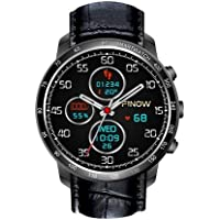 OMNiX Finow Q7 1.3 Inch HD Full Round Touch Screen Smartwatch (Black, Metallic Fiber)