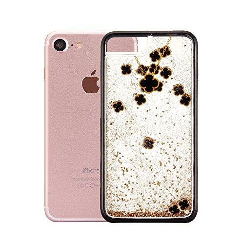 """Handyhülle für iPhone 7, Transparent Kristall CLTPY Ultra Hybrid 2 in 1 Weichsilikon & Hartplastik Schale Etui für iPhone 7, Glitzer Frei Fließenden Flüssigkeit Treibsand Fall für 4.7"""" Apple iPhone 7  Schwarzes Gold"""