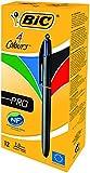 BIC 4-Farb-Druckkugelschreiber Pro / 4 in 1 Kugelschreiber / Rot, Blau, Schwarz und Grün / Dokumentenecht / Nachfüllbar / Strichstärke 0,4mm / Stifte Set mit 12 Mehrfarbenstiften
