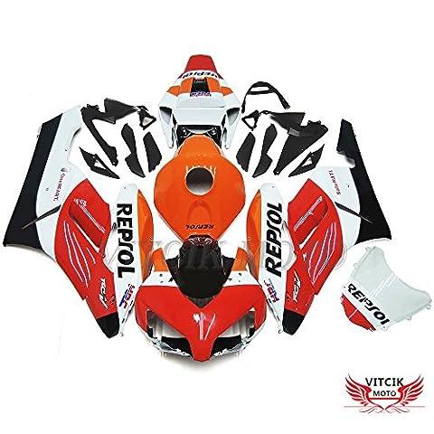 VITCIK (Fairing Kits Fit for Honda CBR1000RR 2004 2005 CBR1000 RR 04 05) Plastic ABS Injection Mold Complete Motorcycle Body Aftermarket Bodywork Frame(Red & Orange)