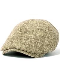 ililily Linen-like Flat Cap Cabbie Hat Gatsby Ivy Irish Hunting Stretch Newsboy