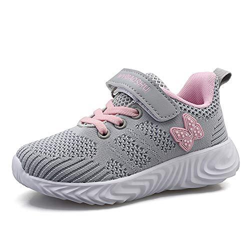Minbei Unisex Kinder Hallenschuhe Jungen Sneakers Atmungsaktive Sportschuhe Laufschuhe Mädchen Leichte Turnschuhe Grau 36 EU