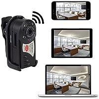 Mini videocamera P2P WiFi IP portatile – Telecamera spia mini DV con rilevatore di movimento e funzione di visione notturna per iPhone / smartphone Android / iPad / PC + Scheda micro SD da 16GB