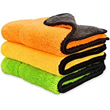 iTavah Car Microfiber Cleaning Cloths Lint Free Dual Layer Drying Auto Detailing Towel for Car & Motorcycle 840gsm(Pack of 3)