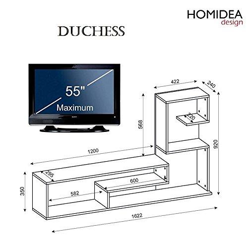 Wohnwand DUCHESS – Weiß / Avola – TV Lowboard mit Regale / Wandboard in modernem Design - 4