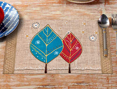 OrientalWeavers Dining Table Place Mats Wooden Print Table Mats (6 Mats & 6 Coaster) Leaf Design Placemats/Plastic Table Mats/Fridge Mats