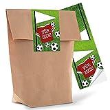 10 kleine braune Geschenktüten Papier-Tüten mit beschreibbarem Aufkleber Sticker Fußball FÜR DICH 14 x 22 x 5,6 cm Fußball-Party Deko Fußball-Fan Kinder-Tüten Jungen Geburtstags-Tüten Mitgebsel