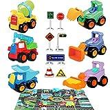 Buyger Coches Camiónes de Juguetes para Niños 6 Construcción Vehículos 18 Señales de Tráfico 1 Maletín 1 Mapas Alfombra Infantil Juegos para Niños Juguetes de Playa al Aire Libre