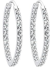 Elli Damen-Creolen Kristall Creolen 925 Sterling Silber mit Swarovski Kristallen im Brillantschliff rosa   - 0311250614