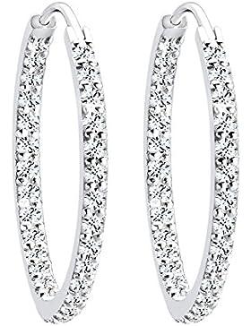 Elli Damen Creolen 925 Sterling Silber Swarovski Kristalle