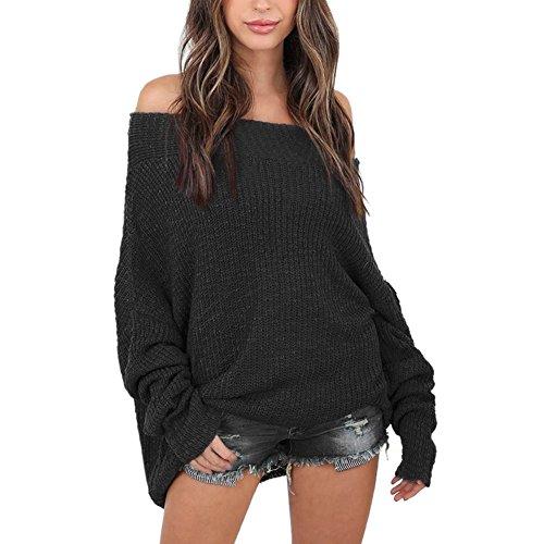 Petalum Damen Pullover Herbst Dünn Schulterfrei Strickpulli Bat Sleeves Lose Baggy Übergroß Sweater Oversize Oberteil Strickwaren