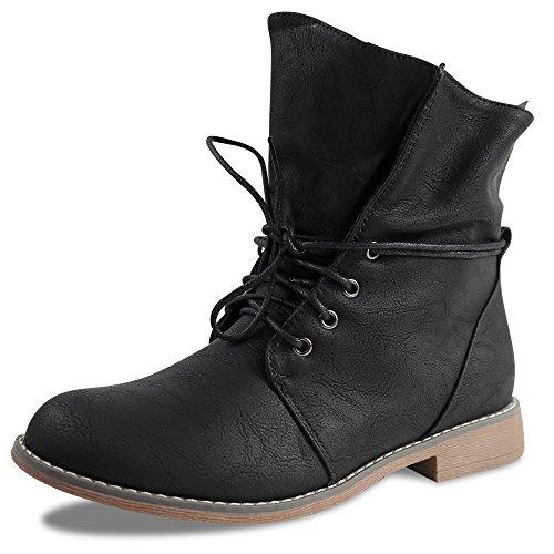 Damen Stiefeletten Boots Schnürboots Stiefel ST853 leicht gefüttert (38, Schwarz warm gefüttert)