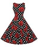 DianShao Damen 50S Retro V Ausschnitt Print Kleid Hepburn Stil Rockabilly Swing Partykleid Cocktailkleid