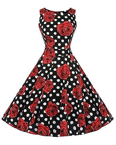 Damen 50S Retro V Ausschnitt Print Kleid Hepburn Stil Rockabilly Swing Partykleid Cocktailkleid