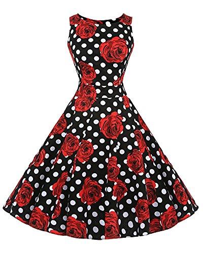 3b57f6ba98b Damen 50S Retro V Ausschnitt Print Kleid Hepburn Stil Rockabilly Swing  Partykleid Cocktailkleid