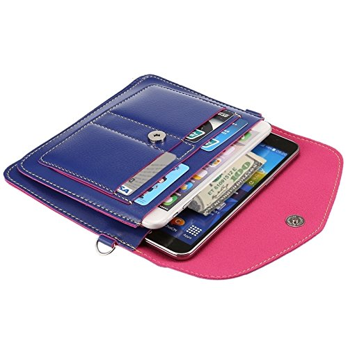 Wkae Case Cover 6,3 zentimeter universal modischen vertikale vier schichten multi - funktions - leder - umhängetasche mit card slots für das iphone 6 plus &65 plus, samsung galaxy 7 rand &anmerkung 5  Dark Blue