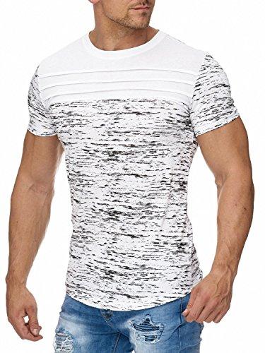 Herren T-Shirt · Regular Fit · Melange-Muster · Kurzarm Oberteil mit Ziernähten und Rundhalsausschnitt · grob meliert · Zebra Style · Schwarz und Weiß · H1963 in Markenqualität Weiß