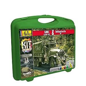Heller - 60996 - Maquette De Camion - Gmc Cckw 353 Et Infanterie Us - Petite Mallette - 91 Pièces