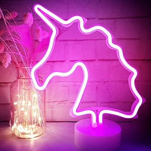 XIYUNTE Unicornio Señales luminosas neón Luz noche,Rosado