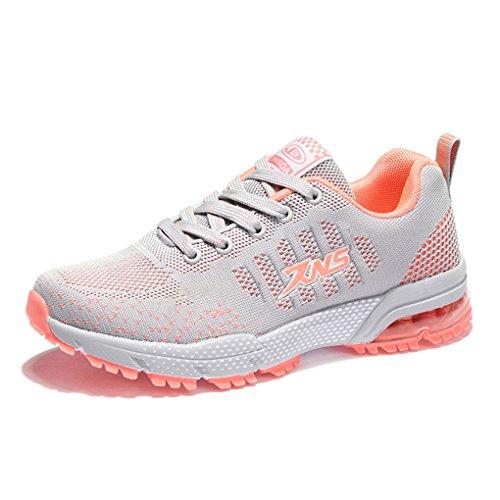 Damen Herren Sportschuhe Ultra Leichte Laufschuhe Rutschfeste Sneakers Mädchen Junge Schuhe mit Dämpfung Sommerschuhe Farbe:-Grau Gr:-40 EU