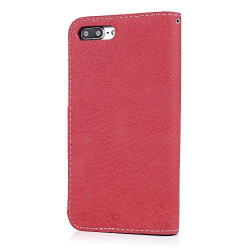 MAXFE.CO Lederhülle Leder Tasche Case Cover für iPhone 7 Plus (5.5 Zoll)Hülle PU Schutzhülle Flip Cover Wallet im Bookstyle mit Standfunktion Karteneinschub und Magnetverschluß-Schwarz Rot