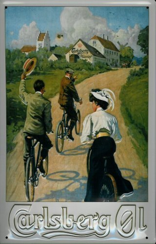 carlsberg-cyclistes-rahmenlos-plaque-en-tole-metallique-metal-sign-tin-20-x-30-cm