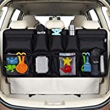 Rovtop Car Back Seat Organizer with 9 Pockets Backseat Organizer, Back Seat Storage Organizer for SUV Truck Van, Car Boot Tidy Organiser Magic Sticker for Space Saving Black