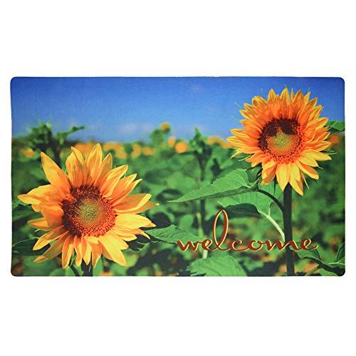 YK Decor Fußmatte für Eingangstür, Rutschfeste Gummi-Fußmatte, strapazierfähige Fußmatte für den Innenbereich, niedriges Profil, für Garage, Terrasse Color-Sunflower 1 - Front Scraper Mat