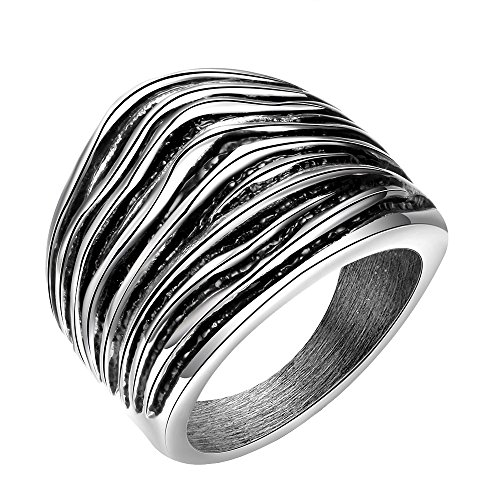PAURO Herren Edelstahl Cocktail Style Punk Biker Ring, Silber Schwarz Größe (Kostüm Rost Weiblich)