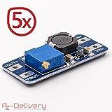 AZDelivery ⭐⭐⭐⭐⭐ 5 x MT3608 DC-DC Netzteil Adapter Step up Modul für Arduino mit Gratis eBook!