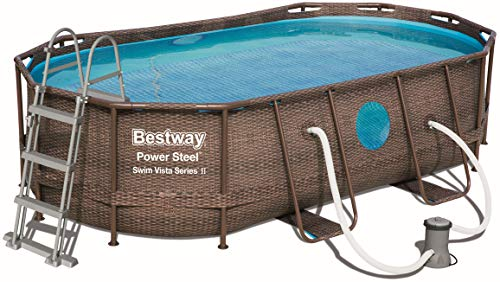 Bestway Power Steel Swim Vista Deluxe Series Frame Pool Set mit Filterpumpe mit Zubehör, Rattanoptik, oval 427 x 250 x 100 cm