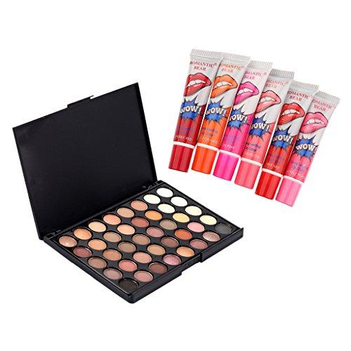 Sharplace Paleta de Sombras de Ojos en Polvos + 6 Colores Lápices Labiales Color Mágico Duradero a Prueba de Agua