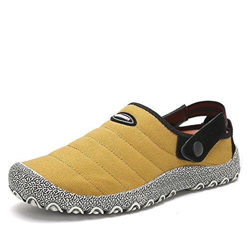 Voovix Herren Damen Slip-On Canvas Schuhe Low-Top Casual Sneaker Flach Hausschuhe Rutschfeste Trainer(Gelb, 43EU)