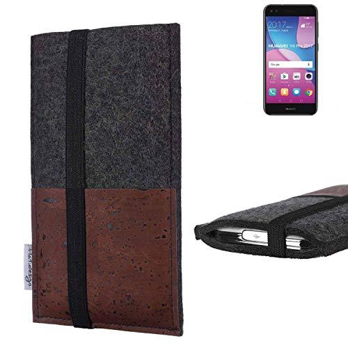 flat.design Handy Hülle Sintra für Huawei Y6 Pro 2017 Dual SIM Handytasche Filz Tasche Schutz Kartenfach Case braun Kork