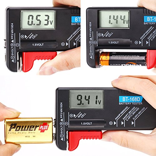 Hapurs Universal Digital Battery Tester Volt Checker for AA AAA C D 9V 1.5V Button Cell BT-168D Batteries Test