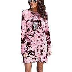 Minetom Mujeres Vestido De Camiseta Corta De Manga Larga De Partido Atractivo Color Teñido De Lazo Escotado Por Detrás Atractiva Señora Mini Dress Rosa ES 38