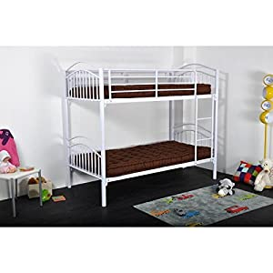 Tom & Leo Bunk Bed with Mattress Contemporary Metal Frame Powder-Coated White – 90 x 190 cm