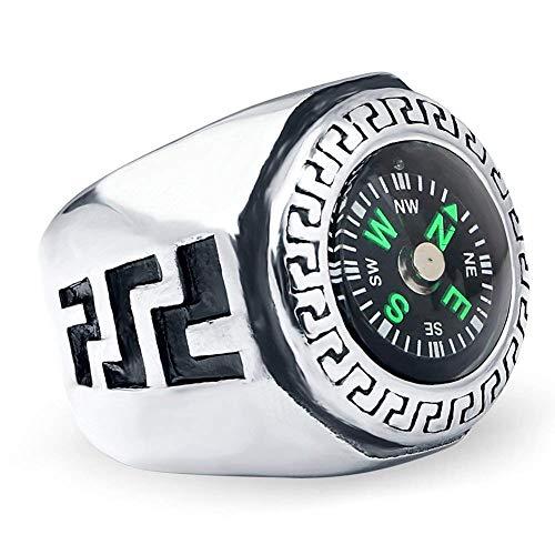 XBME Herren Edelstahl EDC im Freien Spielraum Kompass Punk Ringe die Gabe des Explorer