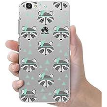 Funda carcasa TPU Transparente para Huawei P8 Lite Smart diseño estampado mapaches gris y verde agua
