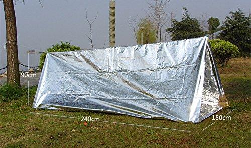 51N7Hi38GyL - Steps Emergency Tent Survival Shelter Mylar Thermal Reflective Tube, plus Free Two Survival Bracelet Paracord